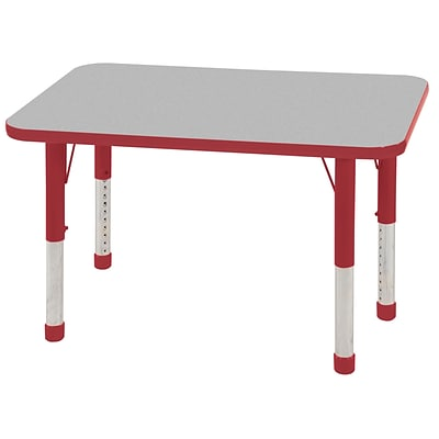 ECR4®Kids 24 x 36 Rectangular Activity Table With Chunky legs & Standard Glide; Gray/Red/Red