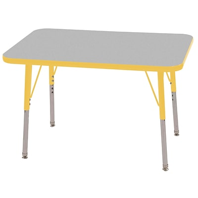 ECR4®Kids 24 x 36 Rectangular Activity Table With Toddler Legs & Swivel Glide; Gray/Yellow/Yellow