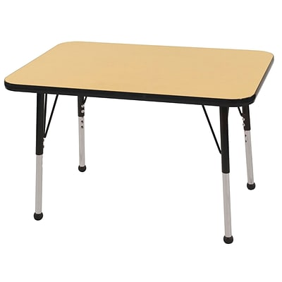 ECR4®Kids 24 x 36 Rectangular Activity Table With Toddler Legs & Ball Glide; Maple/Black/Black