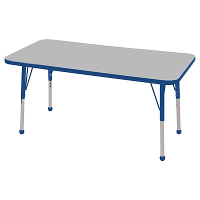 ECR4®Kids 24 x 48 Rectangular Activity Table With Toddler Legs & Ball Glide; Gray/Blue/Blue