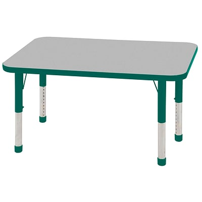 ECR4®Kids 24 x 48 Rectangular Activity Table With Chunky legs & Standard Glide; Gray/Green/Green