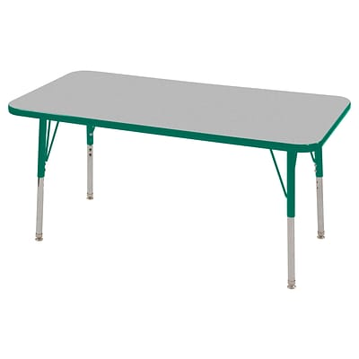 ECR4®Kids 24 x 48 Rectangular Activity Table With Toddler Legs & Swivel Glide; Gray/Green/Green