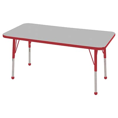 ECR4®Kids 24 x 36 Rectangular Activity Table With Standard Legs & Ball Glide; Gray/Red/Red