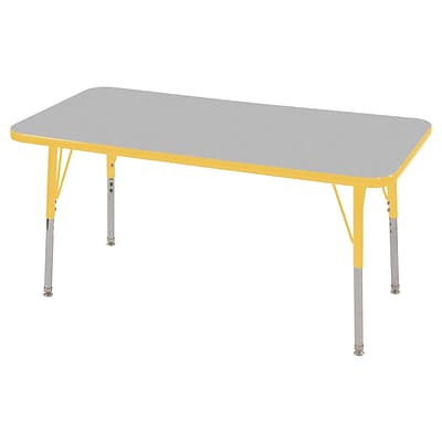 ECR4®Kids 24 x 48 Rectangular Activity Table With Standard Legs & Swivel Glide; Gray/Yellow/Yellow