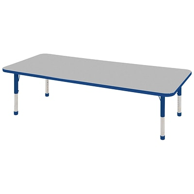 ECR4®Kids 24 x 60 Rectangular Activity Table With Chunky legs & Standard Glide; Gray/Blue/Blue
