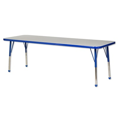 ECR4®Kids 24 x 72 Rectangular Activity Table With Toddler Legs & Ball Glide, Gray/Blue/Blue