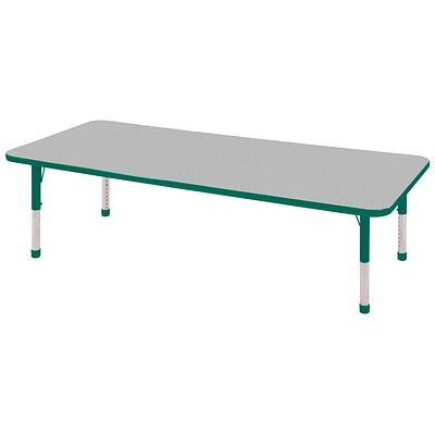 ECR4®Kids 24 x 72 Rectangular Activity Table With Chunky legs & Standard Glide, Gray/Green/Green