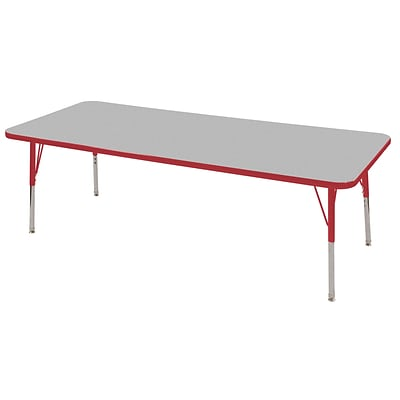 "30""x72"" Rectangular T-Mold Activity Table, Grey/Red/Toddler Swivel"