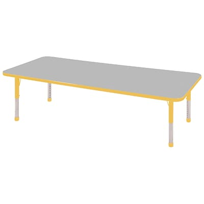 ECR4®Kids 24 x 72 Rectangular Activity Table With Chunky legs & Standard Glide, Gray/Yellow/Yellow