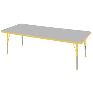 ECR4®Kids 30 x 72 Rectangular Activity Table With Toddler Legs & Ball Glide, Gray/Yellow/Yellow