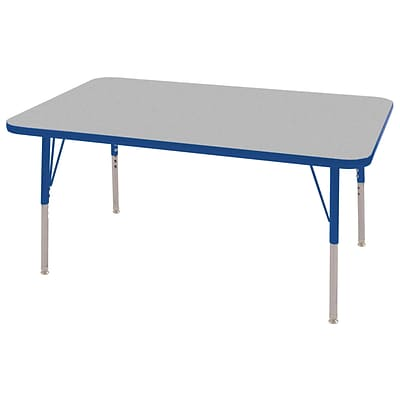 "30""x48"" Rectangular T-Mold Activity Table, Grey/Blue/Standard Swivel"