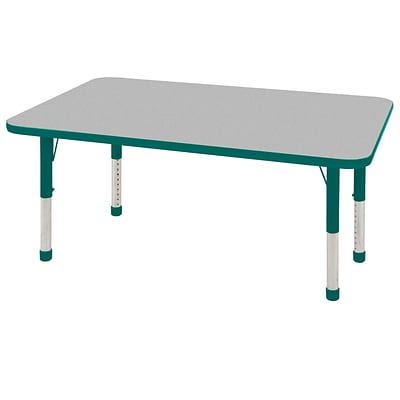 ECR4®Kids 24 x 60 Rectangular Activity Table With Chunky legs & Standard Glide; Gray/Green/Green