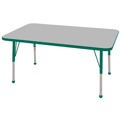 "30""x48"" Rectangular T-Mold Activity Table, Grey/Green/Toddler Ball"