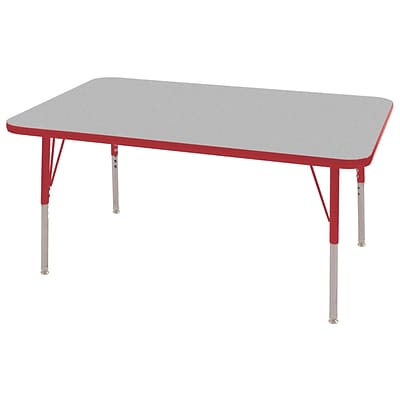 "30""x48"" Rectangular T-Mold Activity Table, Grey/Red/Standard Swivel"