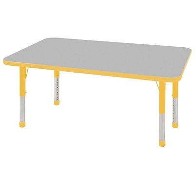 "30""x48"" Rectangular T-Mold Activity Table, Grey/Yellow/Chunky"