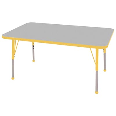 ECR4®Kids 36 x 72 Rectangular Activity Table With Standard Legs & Ball Glide, Gray/Yellow/Yellow