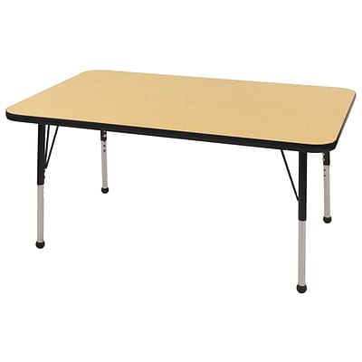 "30""x48"" Rectangular T-Mold Activity Table, Maple/Black/Toddler Ball"