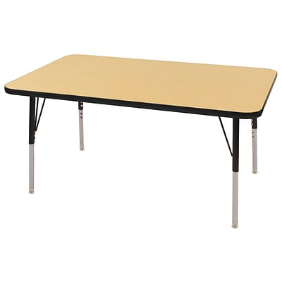 ECR4®Kids 30 x 48 Rectangular Activity Table With Standard Legs & Swivel Glide; Maple/Black/Black
