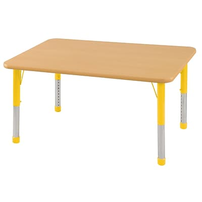 ECR4®Kids 24 x 48 Rectangular Activity Table With Chunky legs & Standard Glide; Maple/Maple/Yellow