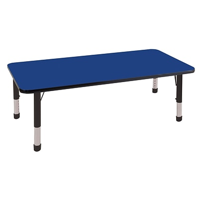 ECR4®Kids 30 x 60 Rectangular Activity Table With Chunky legs & Standard Glide, Blue/Black/Black