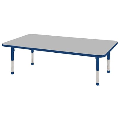 ECR4®Kids 30 x 60 Rectangular Activity Table With Chunky legs & Standard Glide, Gray/Blue/Blue