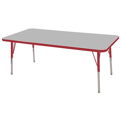 "30""x60"" Rectangular T-Mold Activity Table, Grey/Red/Standard Swivel"