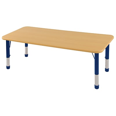 ECR4®Kids 24 x 60 Rectangular Activity Table With Chunky legs & Standard Glide; Maple/Maple/Blue