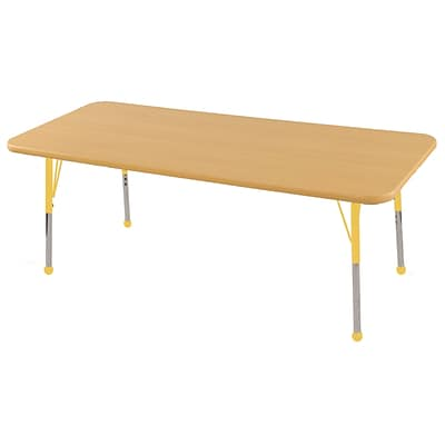 ECR4®Kids 30 x 60 Rectangular Activity Table With Toddler Legs & Ball Glide, Maple/Maple/Yellow