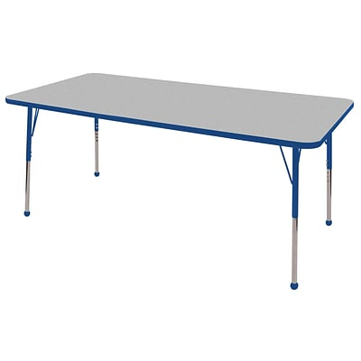 ECR4®Kids 36 x 72 Rectangular Activity Table With Standard Legs & Ball Glide, Gray/Blue/Blue
