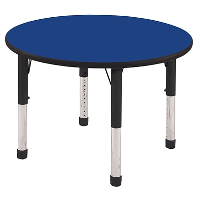 ECR4®Kids 36 Round Activity Table With Chunky legs & Standard Glide; Blue/Black/Black
