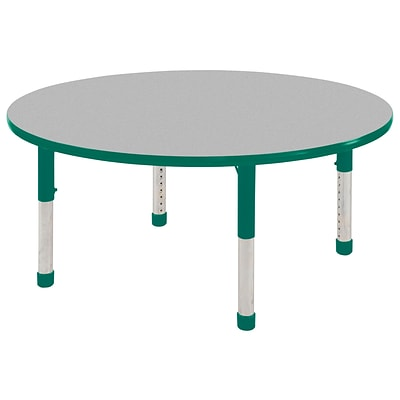 "60"" Round T-Mold Activity Table, Grey/Green/Chunky"