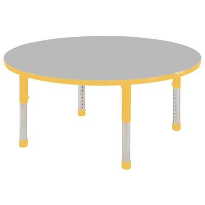 ECR4®Kids 48 Round Activity Table With Chunky legs & Standard Glide, Gray/Yellow/Yellow