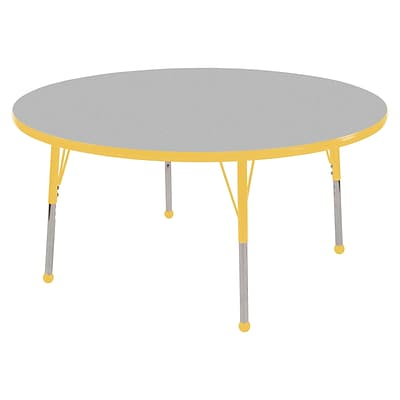 ECR4®Kids 36 Round Activity Table With Standard Legs & Ball Glide; Gray/Yellow/Yellow