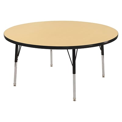 "30"" Round T-Mold Activity Table, Maple/Black/Standard Swivel"