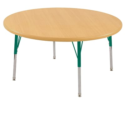 ECR4®Kids 48 Round Activity Table With Standard Legs & Swivel Glide, Maple/Maple/Green