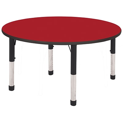 ECR4®Kids 48 Round Activity Table With Chunky legs & Standard Glide, Red/Black/Black