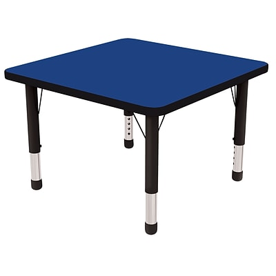 ECR4®Kids 30 x 30 Square Activity Table With Chunky legs & Standard Glide; Blue/Black/Black