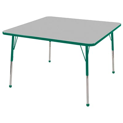 ECR4®Kids 30 x 30 Square Activity Table With Standard Legs & Ball Glide, Gray/Green/Green