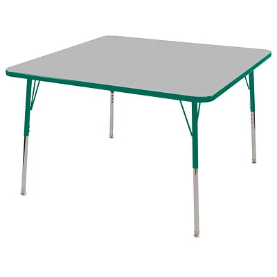 ECR4®Kids 30 x 30 Square Activity Table With Toddler Legs & Swivel Glide, Gray/Green/Green