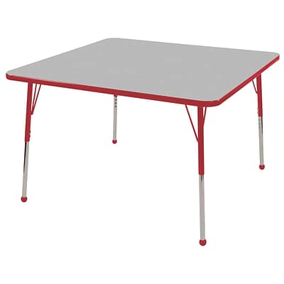 ECR4®Kids 30 x 30 Square Activity Table With Standard Legs & Ball Glide, Gray/Red/Red