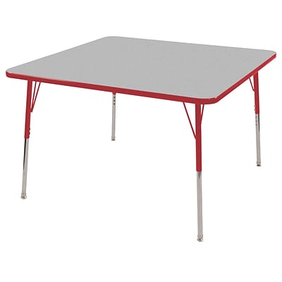 ECR4®Kids 30 x 30 Square Activity Table With Toddler Legs & Swivel Glide, Gray/Red/Red