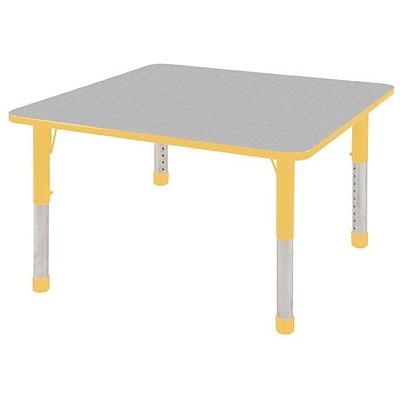 ECR4®Kids 30 x 30 Square Activity Table With Chunky legs & Standard Glide, Gray/Yellow/Yellow