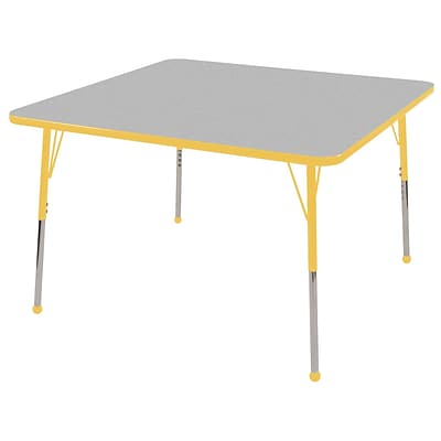 ECR4®Kids 30 x 30 Square Activity Table With Toddler Legs & Ball Glide, Gray/Yellow/Yellow