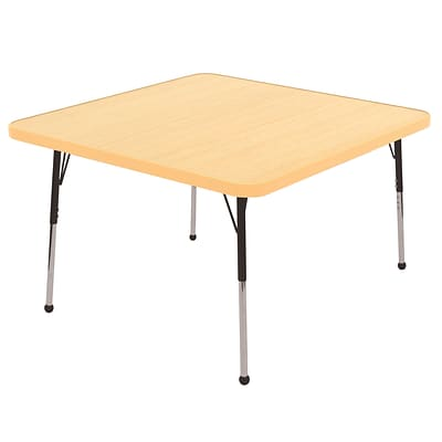 "30"" Square T-Mold Activity Table, Maple/Maple/Black/Standard Ball"