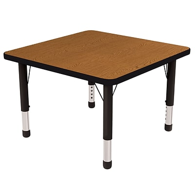 ECR4®Kids 30 x 30 Square Activity Table With Chunky legs & Standard Glide, Oak/Black/Black