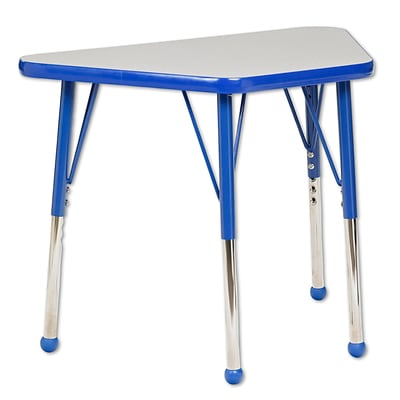 ECR4®Kids 18 x 30 Trapezoid Activity Table With Toddler Legs & Ball Glide, Gray/Blue/Blue