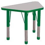ECR4®Kids 18 x 30 Trapezoid Activity Table With Chunky legs & Standard Glide, Gray/Green/Green