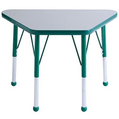ECR4®Kids 18 x 30 Trapezoid Activity Table With Toddler Legs & Ball Glide, Gray/Green/Green