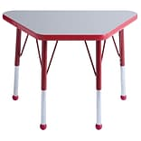 ECR4®Kids 18 x 30 Trapezoid Activity Table With Standard Legs & Ball Glide, Gray/Red/Red