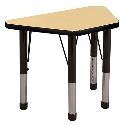 ECR4®Kids 30 x 60 Trapezoid Activity Table With Chunky legs & Standard Glide, Maple/Black/Black